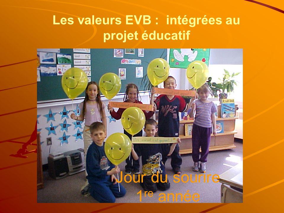 Jour du sourire 1 re année Les valeurs EVB : intégrées au projet éducatif