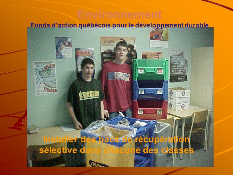 Environnement Fonds daction québécois pour le développement durable Installer des bacs de récupération sélective dans chacune des classes