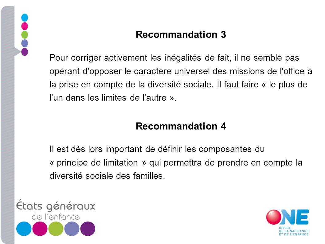Recommandation 3 Pour corriger activement les inégalités de fait, il ne semble pas opérant d'opposer le caractère universel des missions de l'office à