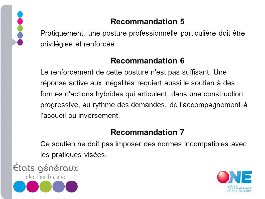 Recommandation 5 Pratiquement, une posture professionnelle particulière doit être privilégiée et renforcée Recommandation 6 Le renforcement de cette p