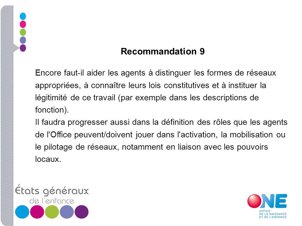 Recommandation 9 Encore faut-il aider les agents à distinguer les formes de réseaux appropriées, à connaître leurs lois constitutives et à instituer l