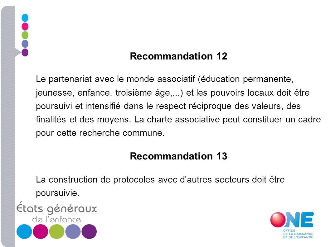 Recommandation 12 Le partenariat avec le monde associatif (éducation permanente, jeunesse, enfance, troisième âge,...) et les pouvoirs locaux doit êtr