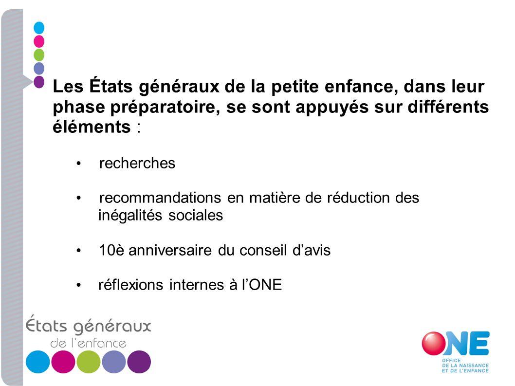 Les États généraux de la petite enfance, dans leur phase préparatoire, se sont appuyés sur différents éléments : recherches recommandations en matière
