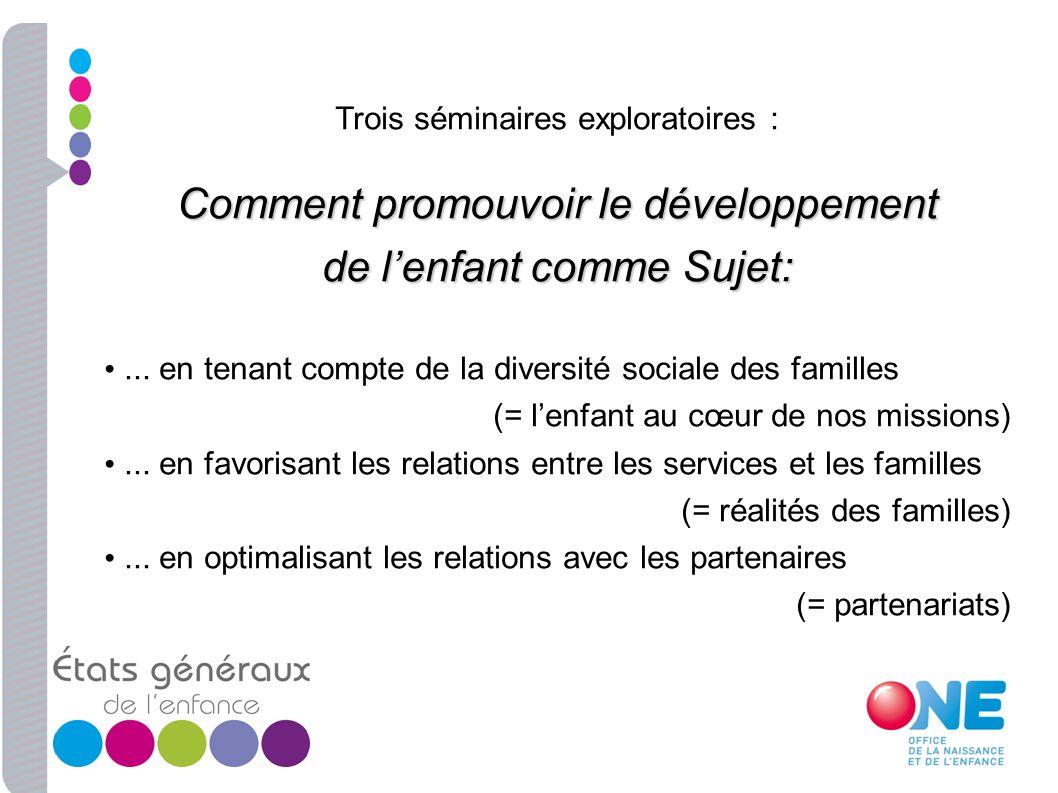 Trois séminaires exploratoires : Comment promouvoir le développement de lenfant comme Sujet:... en tenant compte de la diversité sociale des familles