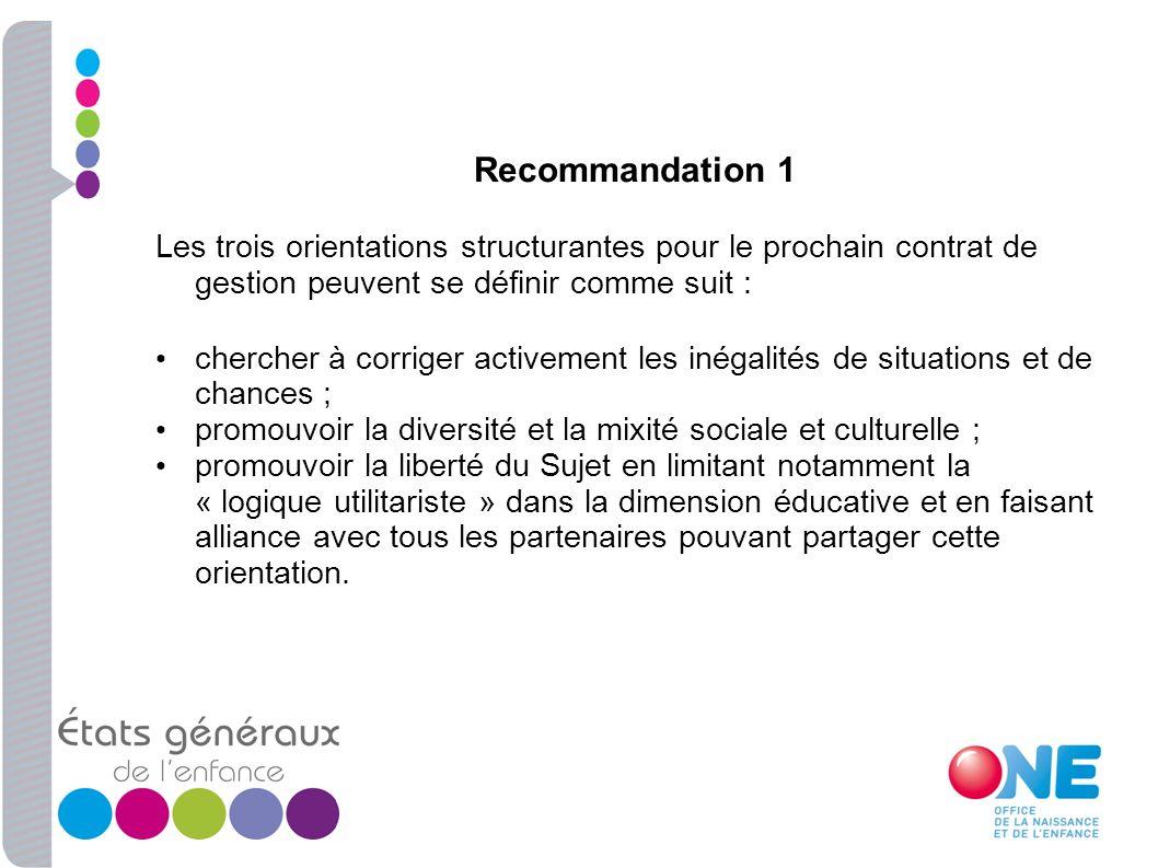 Recommandation 1 Les trois orientations structurantes pour le prochain contrat de gestion peuvent se définir comme suit : chercher à corriger activeme