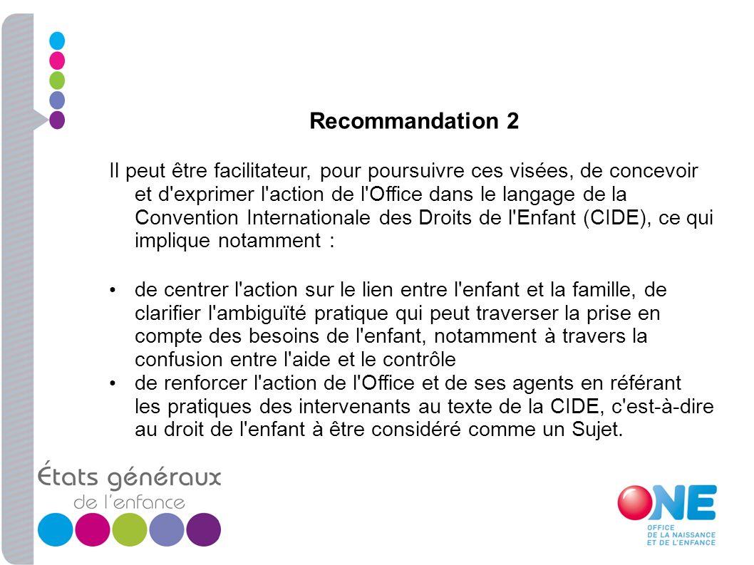 Recommandation 2 Il peut être facilitateur, pour poursuivre ces visées, de concevoir et d'exprimer l'action de l'Office dans le langage de la Conventi