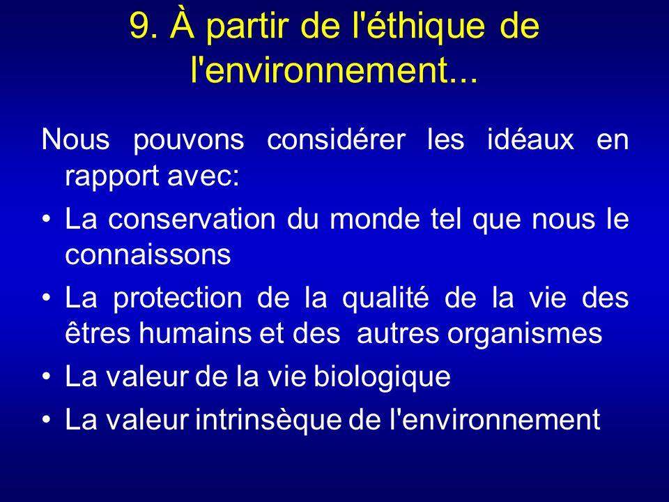 9. À partir de l'éthique de l'environnement... Nous pouvons considérer les idéaux en rapport avec: La conservation du monde tel que nous le connaisson
