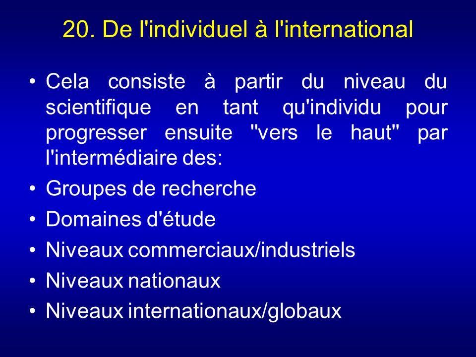 20. De l'individuel à l'international Cela consiste à partir du niveau du scientifique en tant qu'individu pour progresser ensuite ''vers le haut'' pa