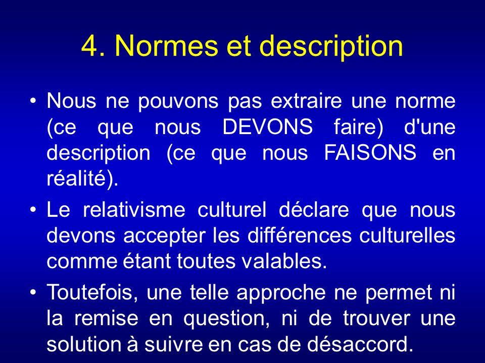 4. Normes et description Nous ne pouvons pas extraire une norme (ce que nous DEVONS faire) d'une description (ce que nous FAISONS en réalité). Le rela