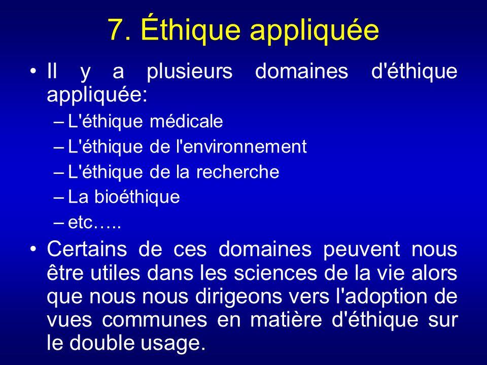 7. Éthique appliquée Il y a plusieurs domaines d'éthique appliquée: –L'éthique médicale –L'éthique de l'environnement –L'éthique de la recherche –La b