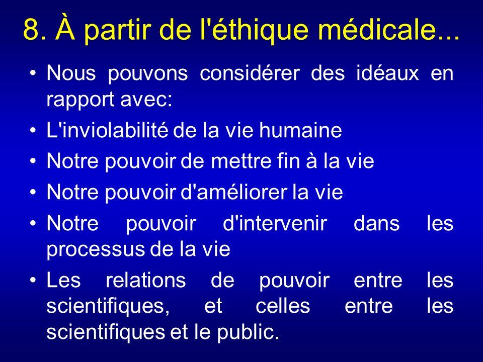 8. À partir de l'éthique médicale... Nous pouvons considérer des idéaux en rapport avec: L'inviolabilité de la vie humaine Notre pouvoir de mettre fin
