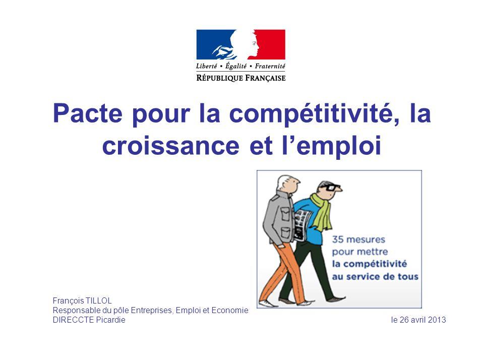 Pacte pour la compétitivité, la croissance et lemploi François TILLOL Responsable du pôle Entreprises, Emploi et Economie DIRECCTE Picardie le 26 avri