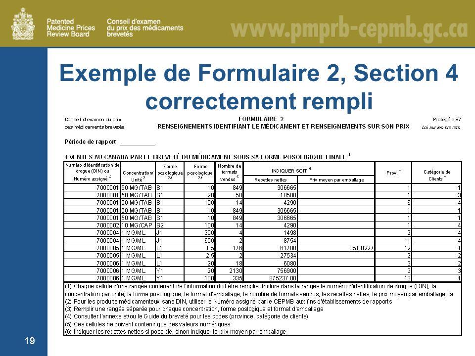 19 Exemple de Formulaire 2, Section 4 correctement rempli