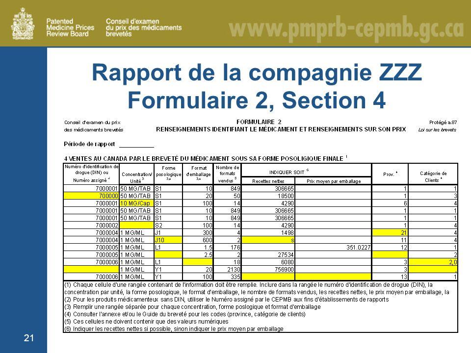 21 Rapport de la compagnie ZZZ Formulaire 2, Section 4