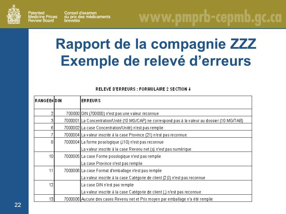22 Rapport de la compagnie ZZZ Exemple de relevé derreurs