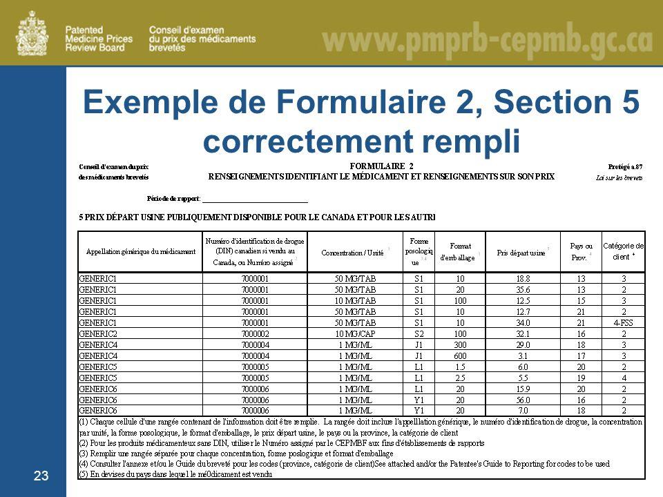 23 Exemple de Formulaire 2, Section 5 correctement rempli