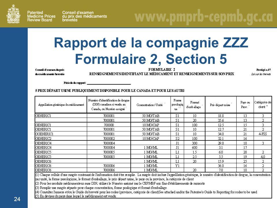 24 Rapport de la compagnie ZZZ Formulaire 2, Section 5