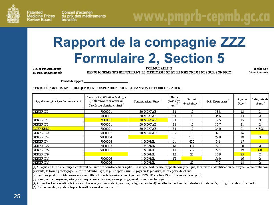 25 Rapport de la compagnie ZZZ Formulaire 2, Section 5