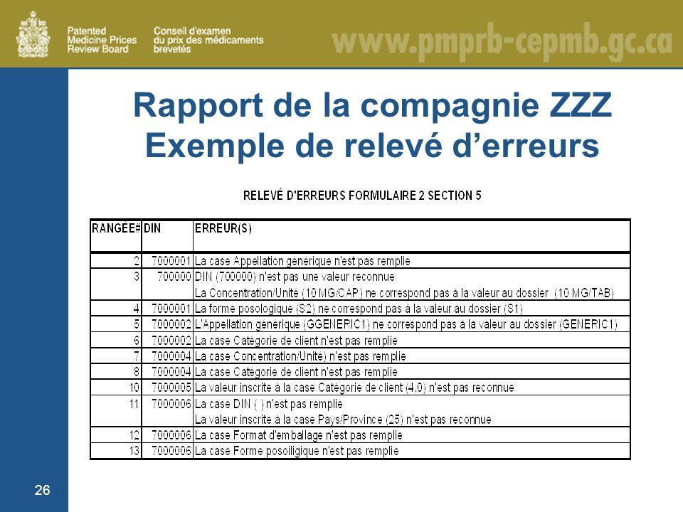 26 Rapport de la compagnie ZZZ Exemple de relevé derreurs