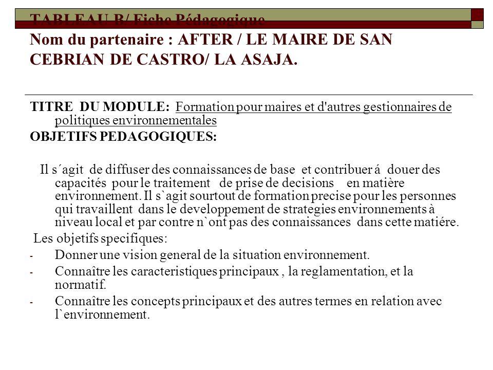 TABLEAU B/ Fiche Pédagogique Nom du partenaire : AFTER / LE MAIRE DE SAN CEBRIAN DE CASTRO/ LA ASAJA.