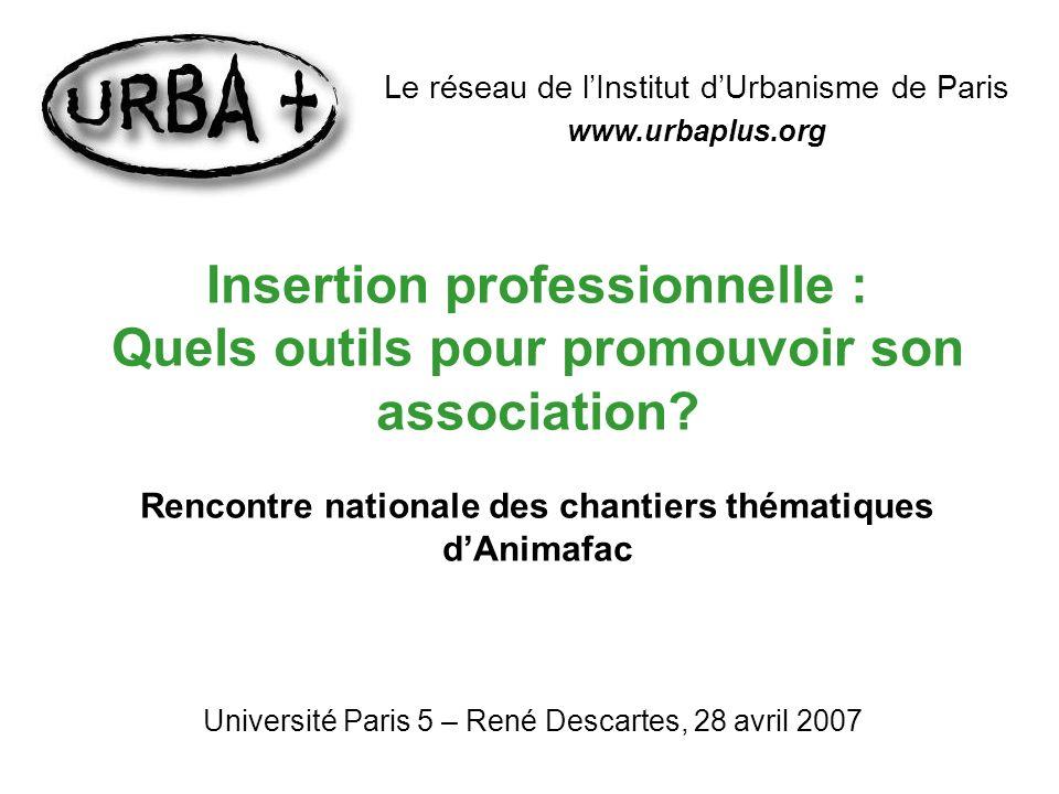 Insertion professionnelle : Quels outils pour promouvoir son association? Rencontre nationale des chantiers thématiques dAnimafac Université Paris 5 –