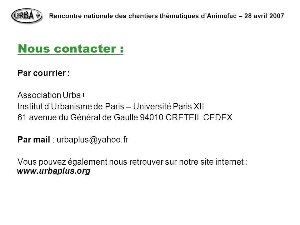Nous contacter : Par courrier : Association Urba+ Institut dUrbanisme de Paris – Université Paris XII 61 avenue du Général de Gaulle 94010 CRETEIL CED