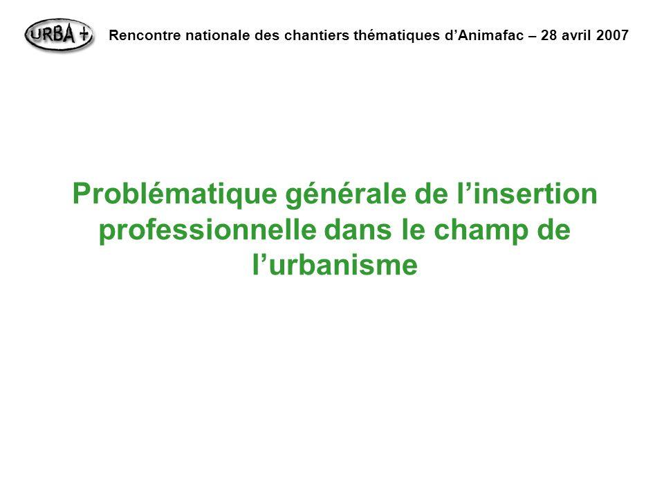 Problématique générale de linsertion professionnelle dans le champ de lurbanisme Rencontre nationale des chantiers thématiques dAnimafac – 28 avril 2007