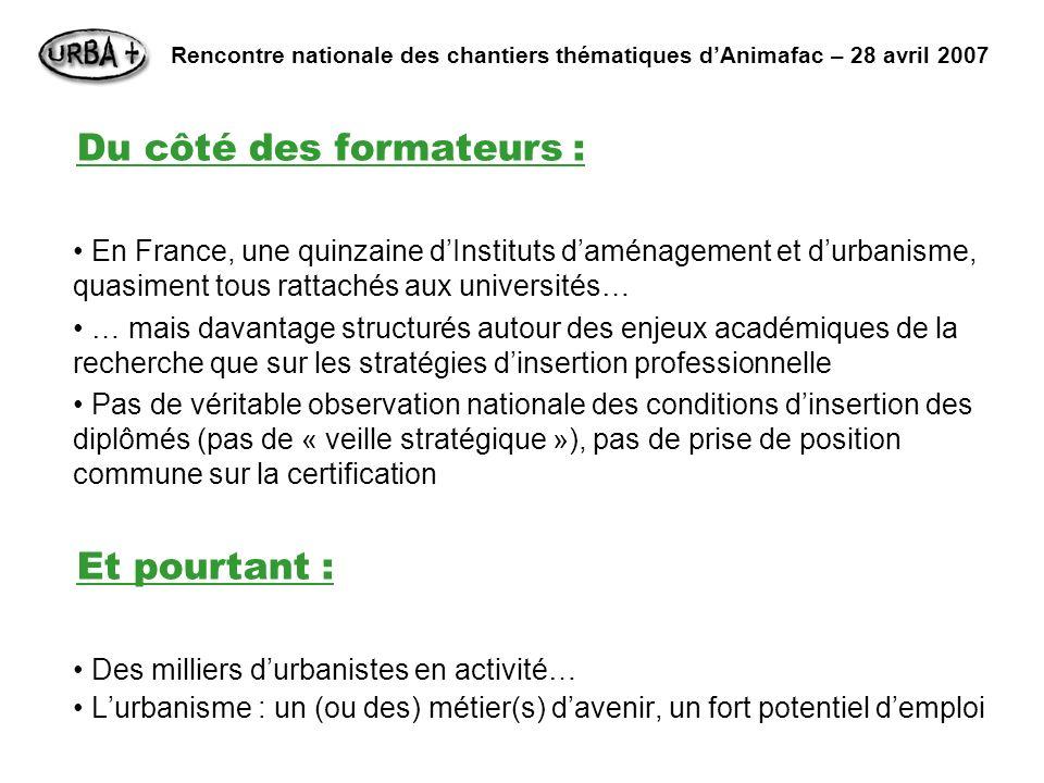 Du côté des formateurs : En France, une quinzaine dInstituts daménagement et durbanisme, quasiment tous rattachés aux universités… … mais davantage st