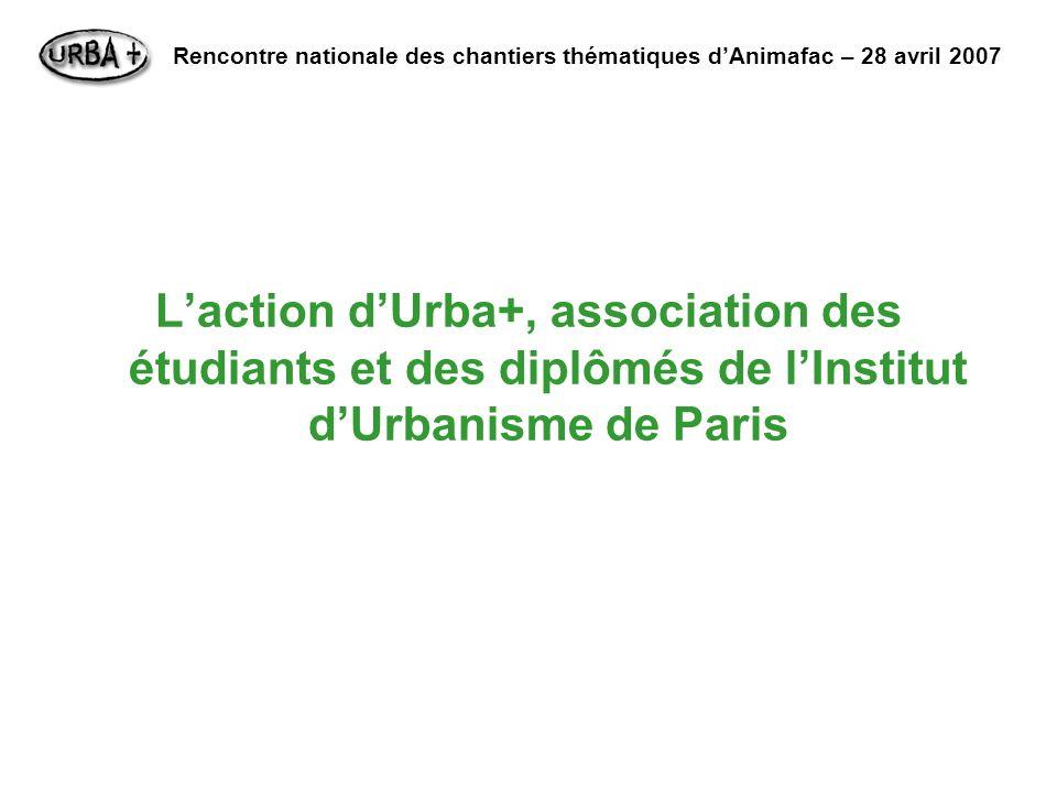 Laction dUrba+, association des étudiants et des diplômés de lInstitut dUrbanisme de Paris Rencontre nationale des chantiers thématiques dAnimafac – 2