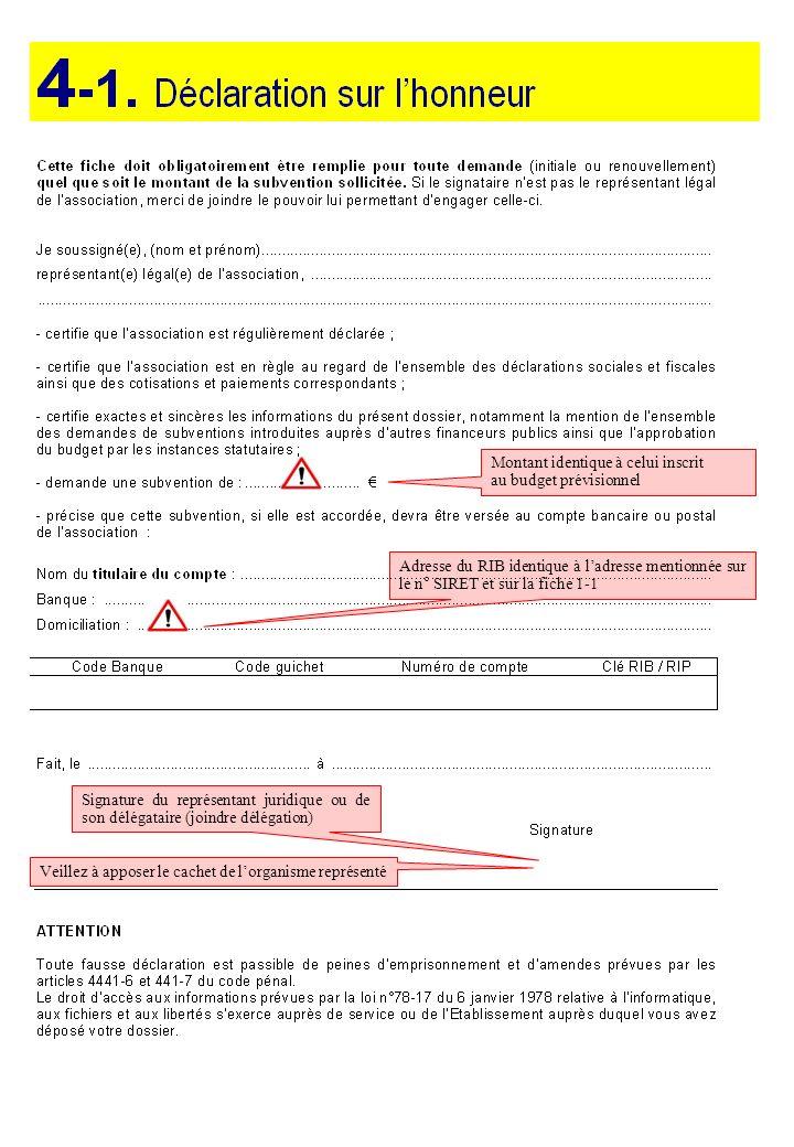 Montant identique à celui inscrit au budget prévisionnel Adresse du RIB identique à ladresse mentionnée sur le n° SIRET et sur la fiche 1-1 Signature