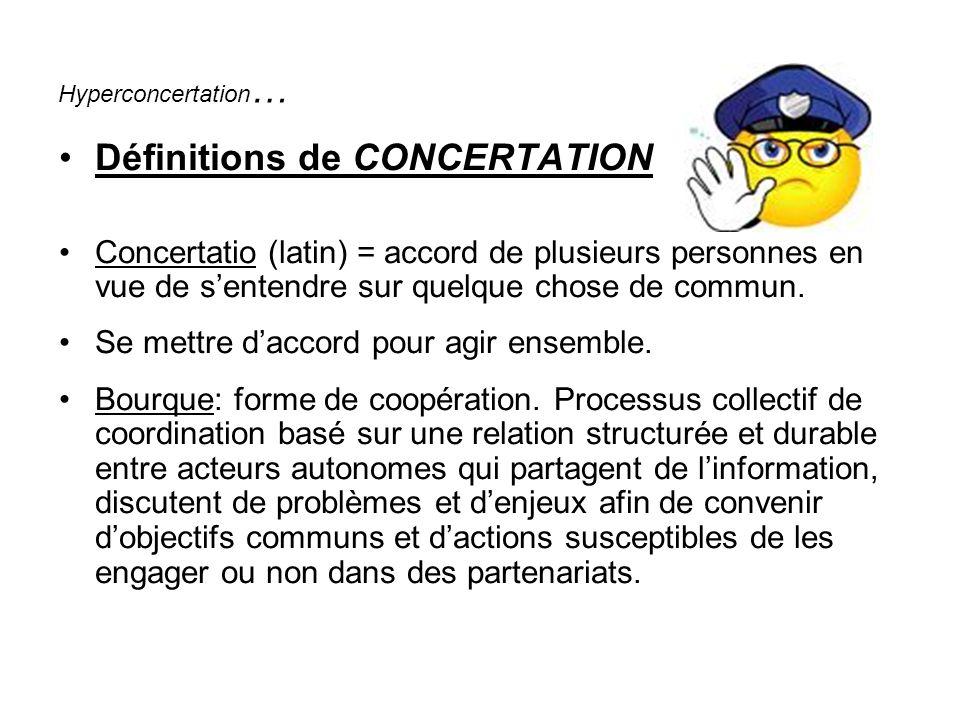 Hyperconcertation … Définitions de CONCERTATION Concertatio (latin) = accord de plusieurs personnes en vue de sentendre sur quelque chose de commun.