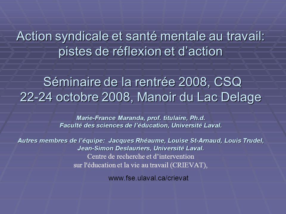 Informations sur les participants Santé sécurité Organisation du travail Aide- entraide HFTotal CSN511527 CSQ1905510 FTQ224538 Total8125151025