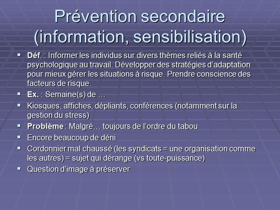 Prévention secondaire (information, sensibilisation) Déf.
