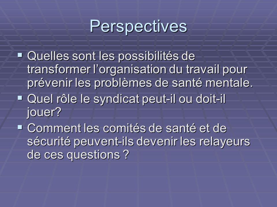 Perspectives Quelles sont les possibilités de transformer lorganisation du travail pour prévenir les problèmes de santé mentale.