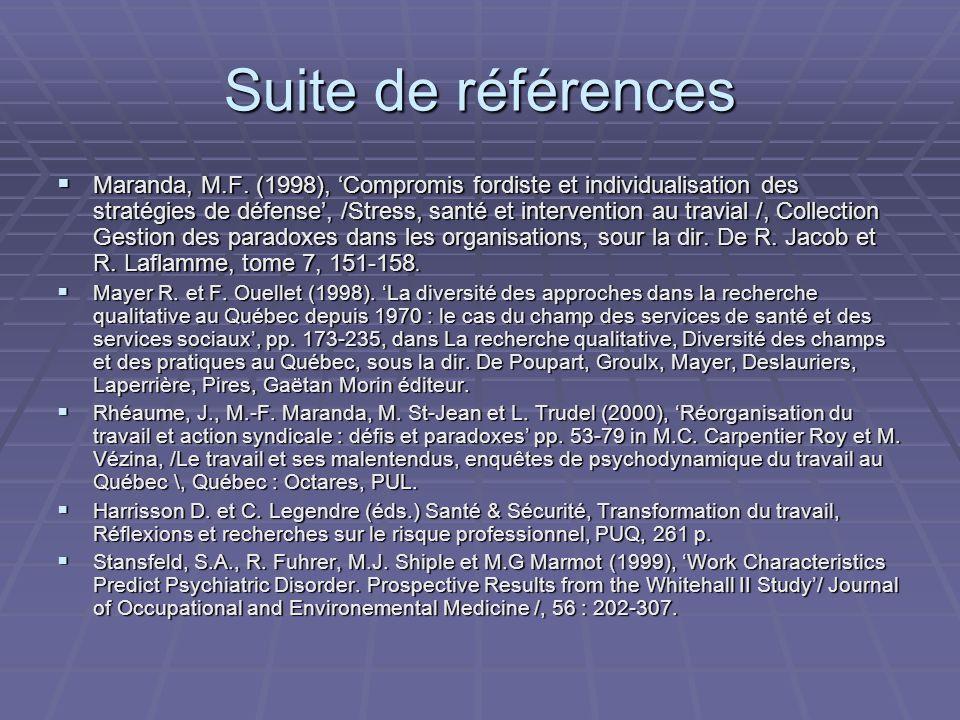 Suite de références Maranda, M.F.