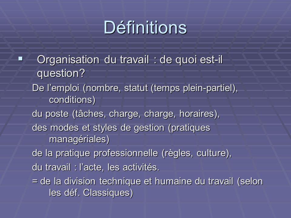 Définitions Organisation du travail : de quoi est-il question.