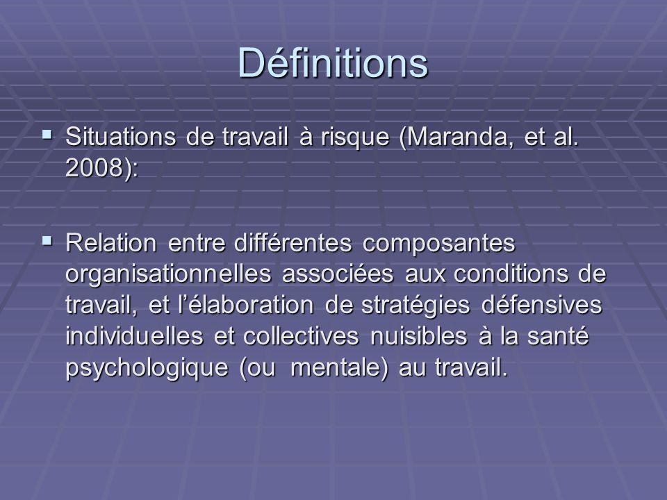 Définitions Situations de travail à risque (Maranda, et al.