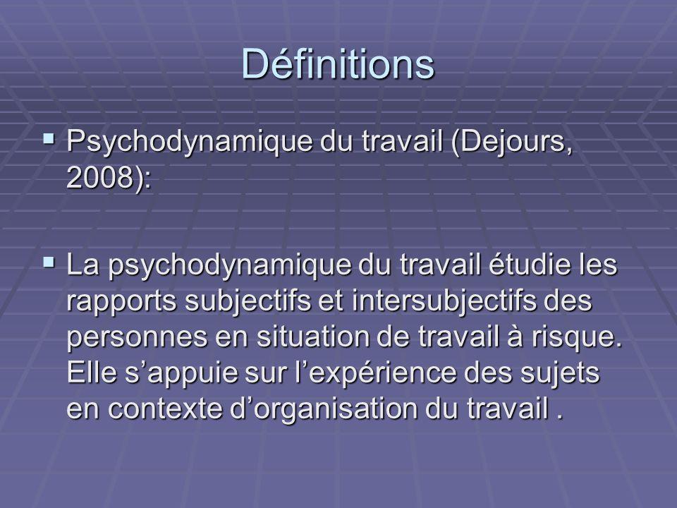 Définitions Psychodynamique du travail (Dejours, 2008): Psychodynamique du travail (Dejours, 2008): La psychodynamique du travail étudie les rapports subjectifs et intersubjectifs des personnes en situation de travail à risque.