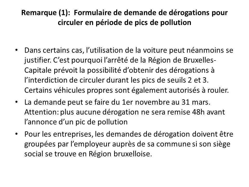 Remarque (1): Formulaire de demande de dérogations pour circuler en période de pics de pollution Dans certains cas, lutilisation de la voiture peut né