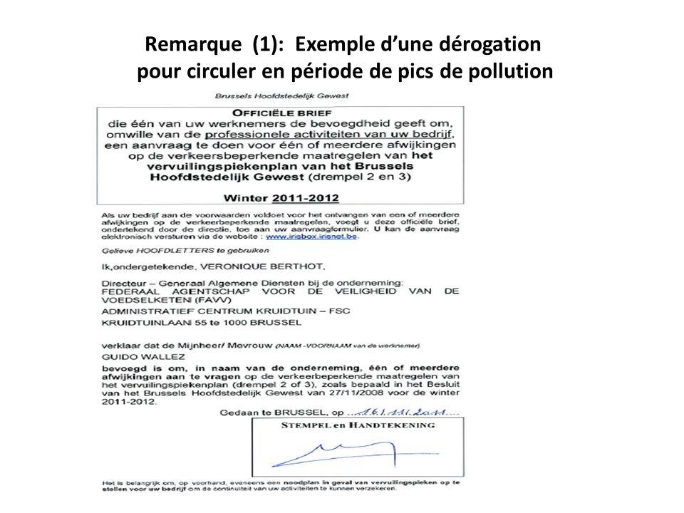 Remarque (1): Exemple dune dérogation pour circuler en période de pics de pollution