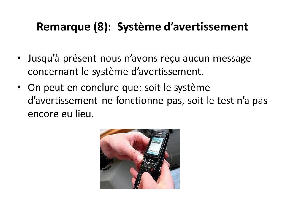 Remarque (8): Système davertissement Jusquà présent nous navons reçu aucun message concernant le système davertissement. On peut en conclure que: soit