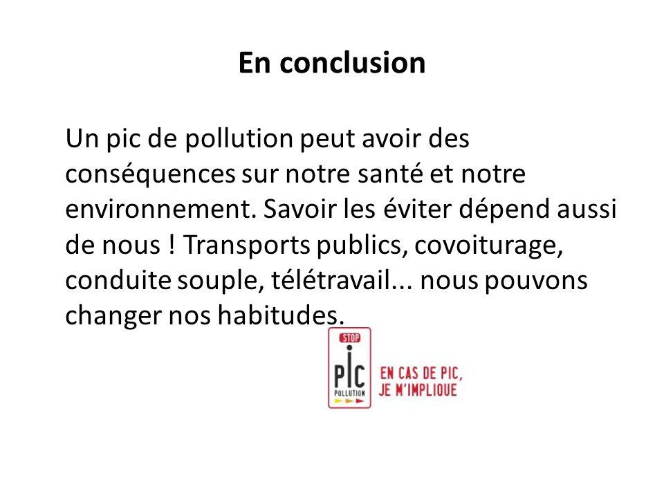 En conclusion Un pic de pollution peut avoir des conséquences sur notre santé et notre environnement. Savoir les éviter dépend aussi de nous ! Transpo