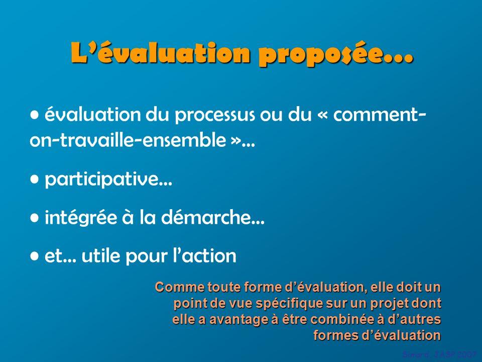 Lévaluation proposée… Simard, JASP 2007 évaluation du processus ou du « comment- on-travaille-ensemble »… participative… intégrée à la démarche… et… u