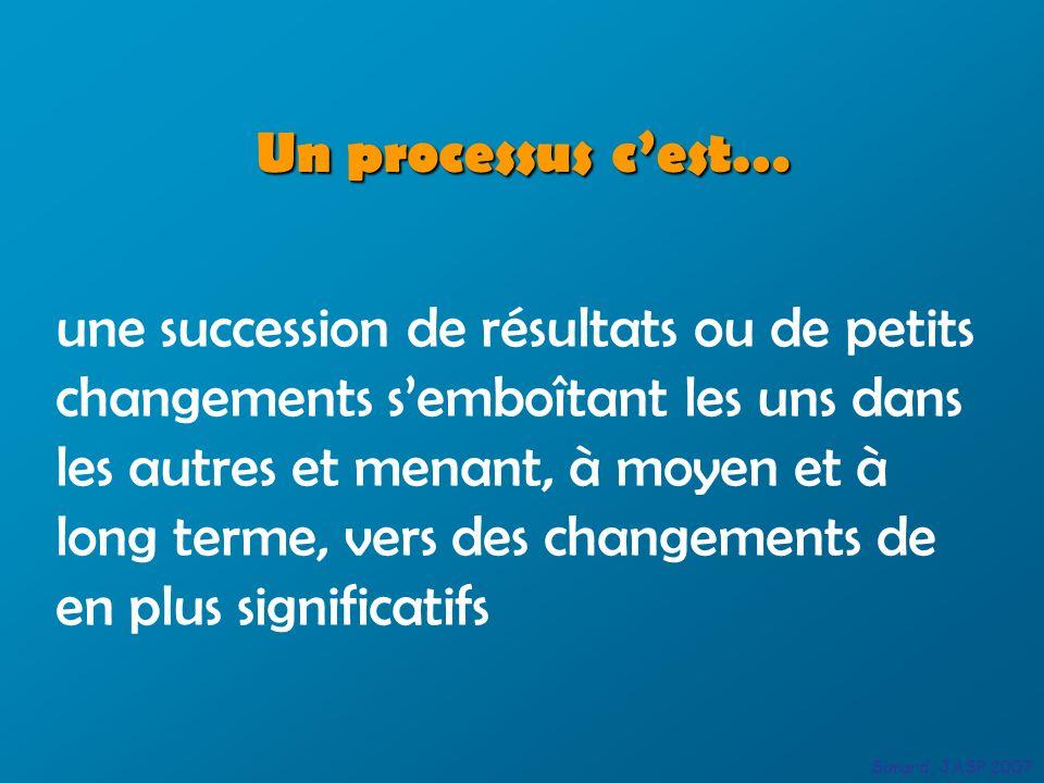 Un processus cest… une succession de résultats ou de petits changements semboîtant les uns dans les autres et menant, à moyen et à long terme, vers de