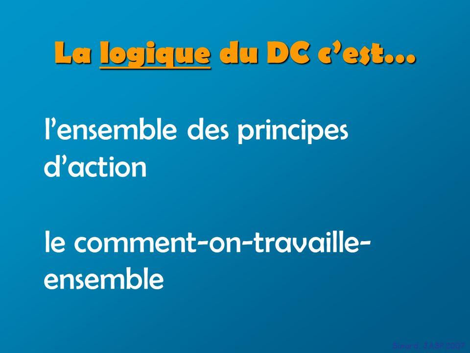 lensemble des principes daction le comment-on-travaille- ensemble La logique du DC cest… Simard, JASP 2007