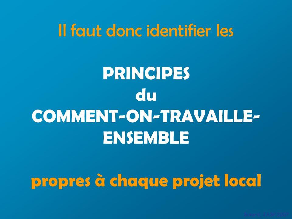 Il faut donc identifier les PRINCIPES du COMMENT-ON-TRAVAILLE- ENSEMBLE propres à chaque projet local Simard, JASP 2007