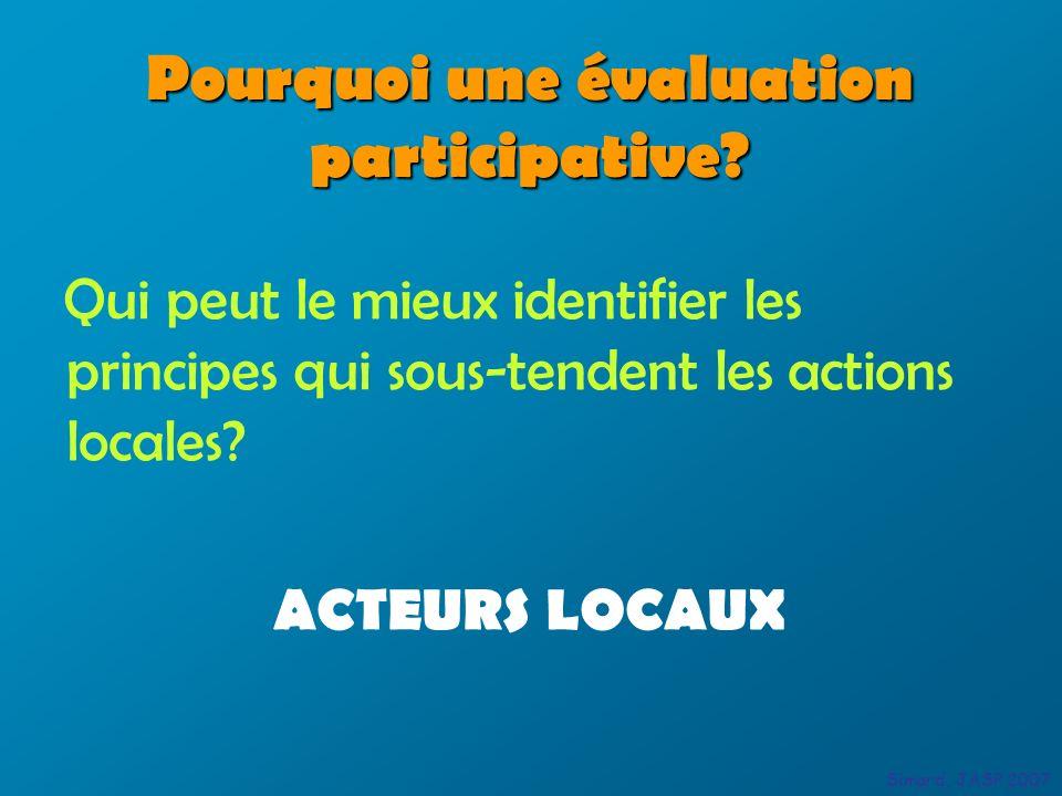 Pourquoi une évaluation participative? Qui peut le mieux identifier les principes qui sous-tendent les actions locales? ACTEURS LOCAUX Simard, JASP 20