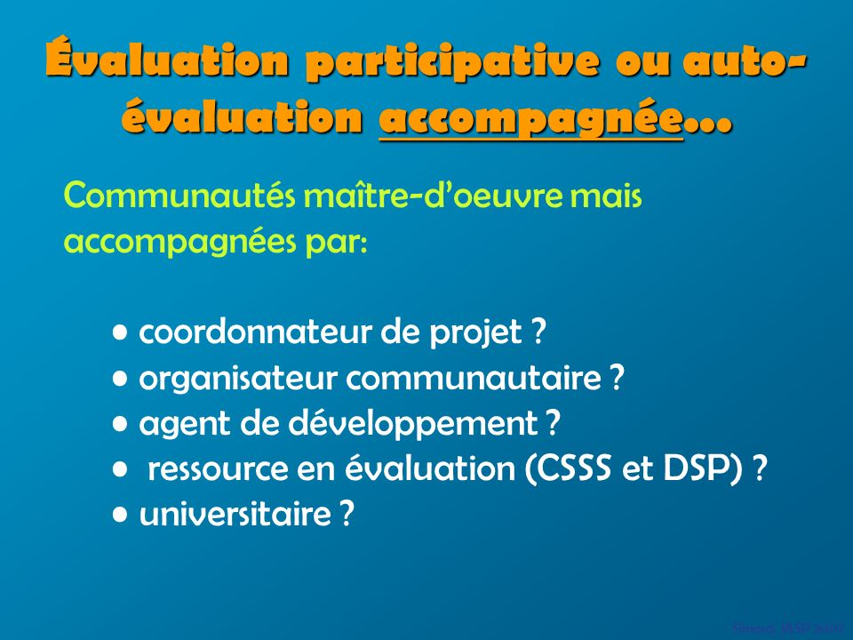 Évaluation participative ou auto- évaluationaccompagnée...
