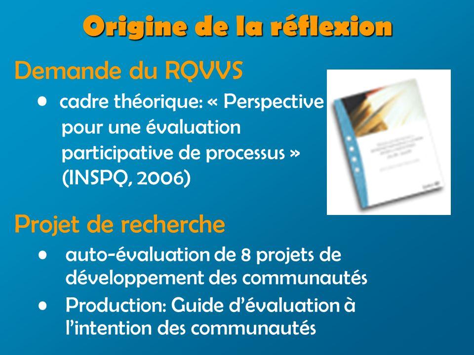 Origine de la réflexion Projet de recherche auto-évaluation de 8 projets de développement des communautés Production: Guide dévaluation à lintention des communautés Demande du RQVVS cadre théorique: « Perspective pour une évaluation participative de processus » (INSPQ, 2006)