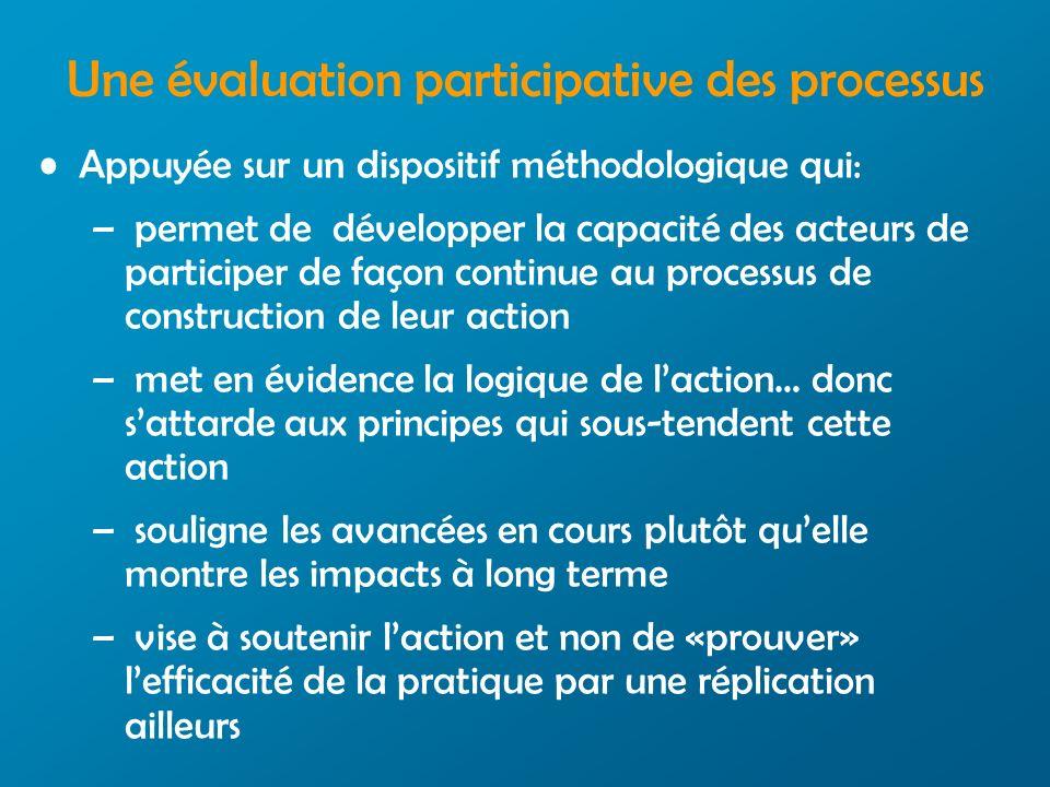 Une évaluation participative des processus Appuyée sur un dispositif méthodologique qui: – permet de développer la capacité des acteurs de participer